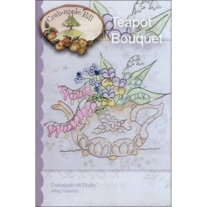 Teapot Bouquet Embroidery Pattern